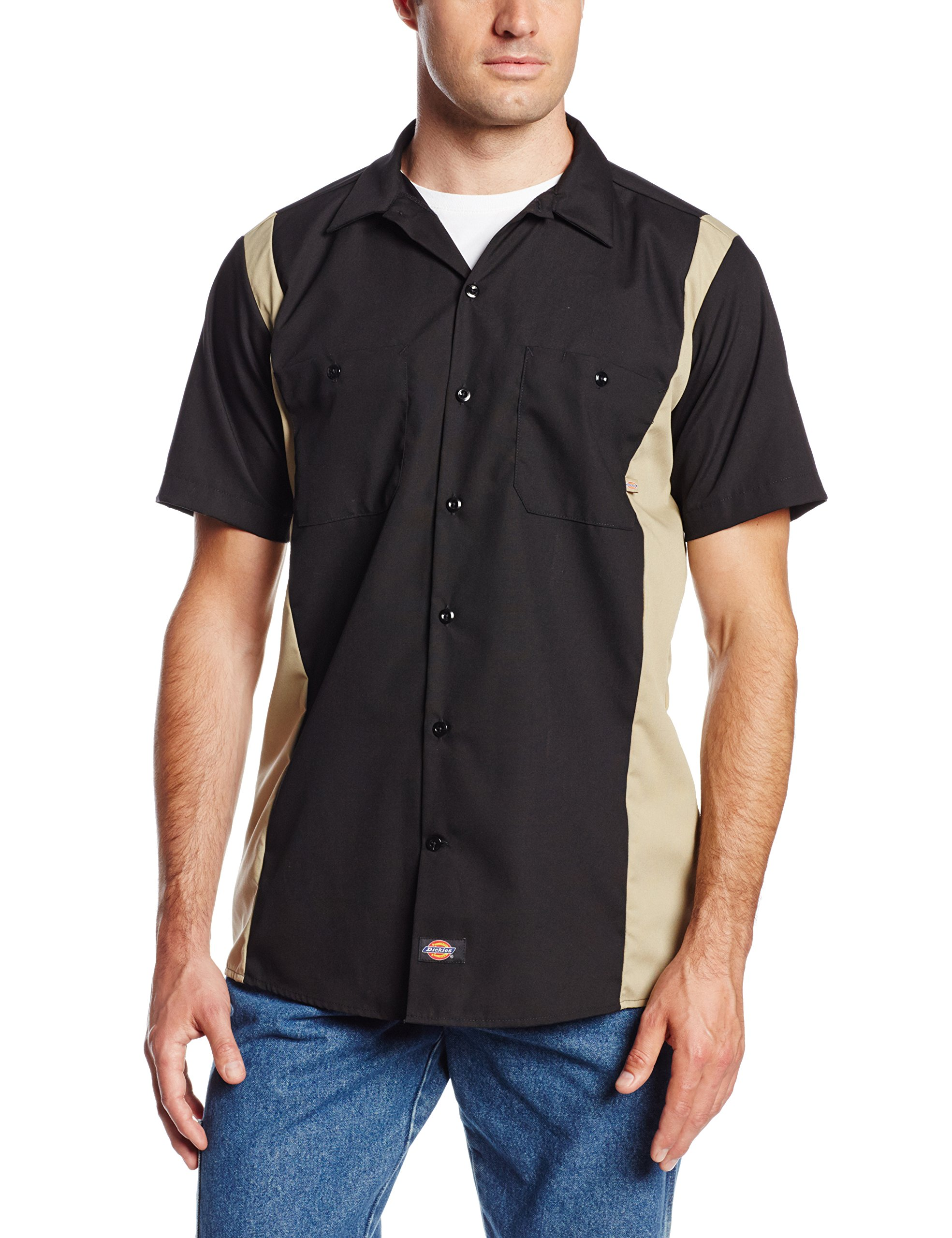 Dickies Occupational Workwear LS524BKDS 2XLT Polyester/ Cotton Men's Short Sleeve Industrial Color Block Shirt, 2X-Large Tall, Black/ Desert Sand