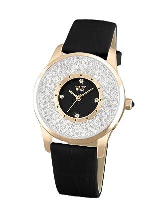 Davis 1785 - Montre Strass Femme Cristal Swarovski Acier Or Rose Cadran Noir Bracelet Cuir Noir