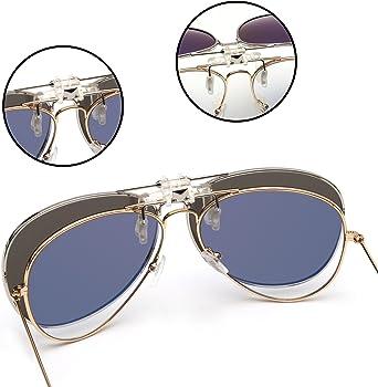 Retro Clip en Aviador Gafas de Sol Polarizadas Flip up ...