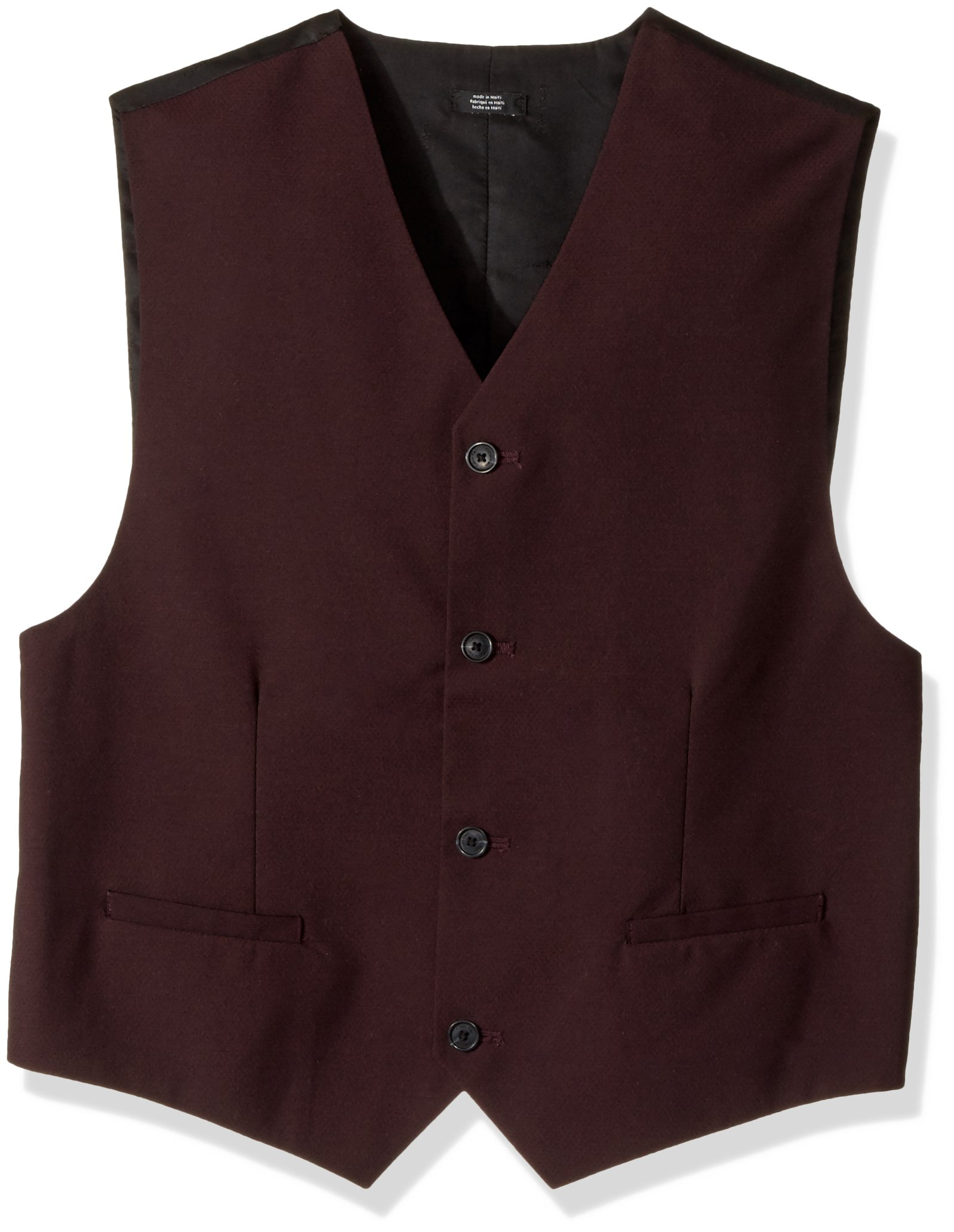 Calvin Klein Big Boys' Suit Vest, Square Burgundy, Medium