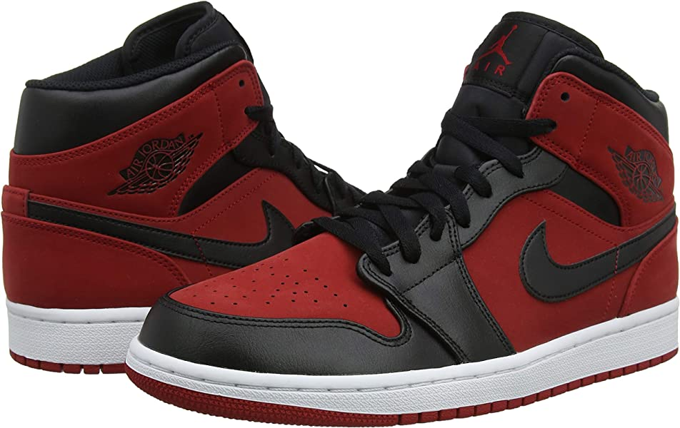 5ad8a6281898e Nike Jordan Mens Air Jordan 1 MID Synthetic Leather Gym Red Black Trainers  10.5 US