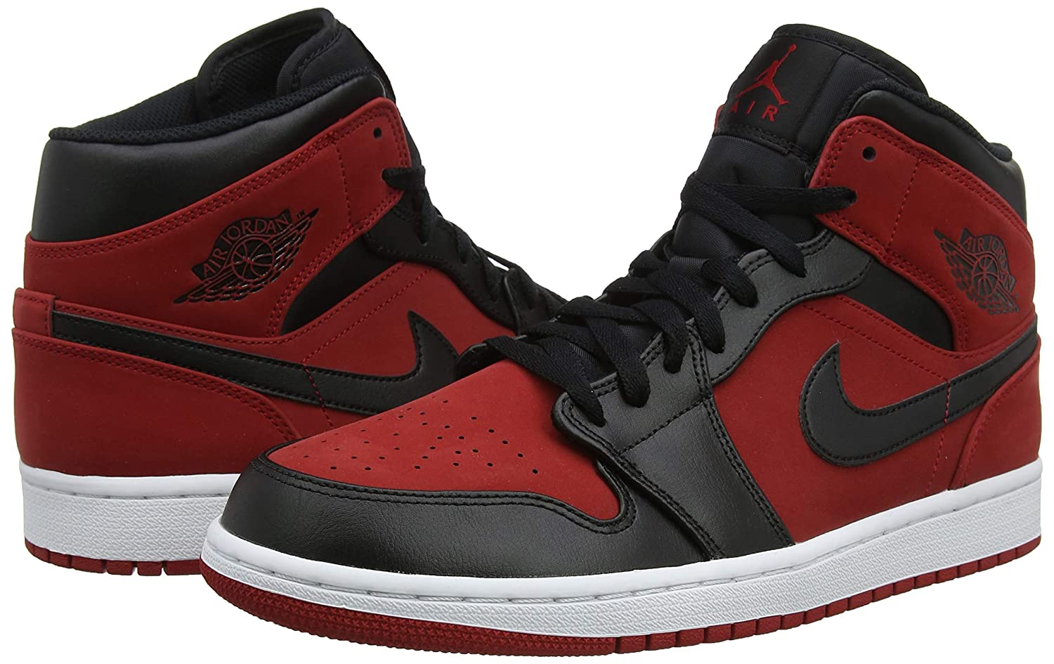 NIKE Jordan Men's Air Retro 1 Basketball Shoe, Gym RedBlack White (610), 8.5