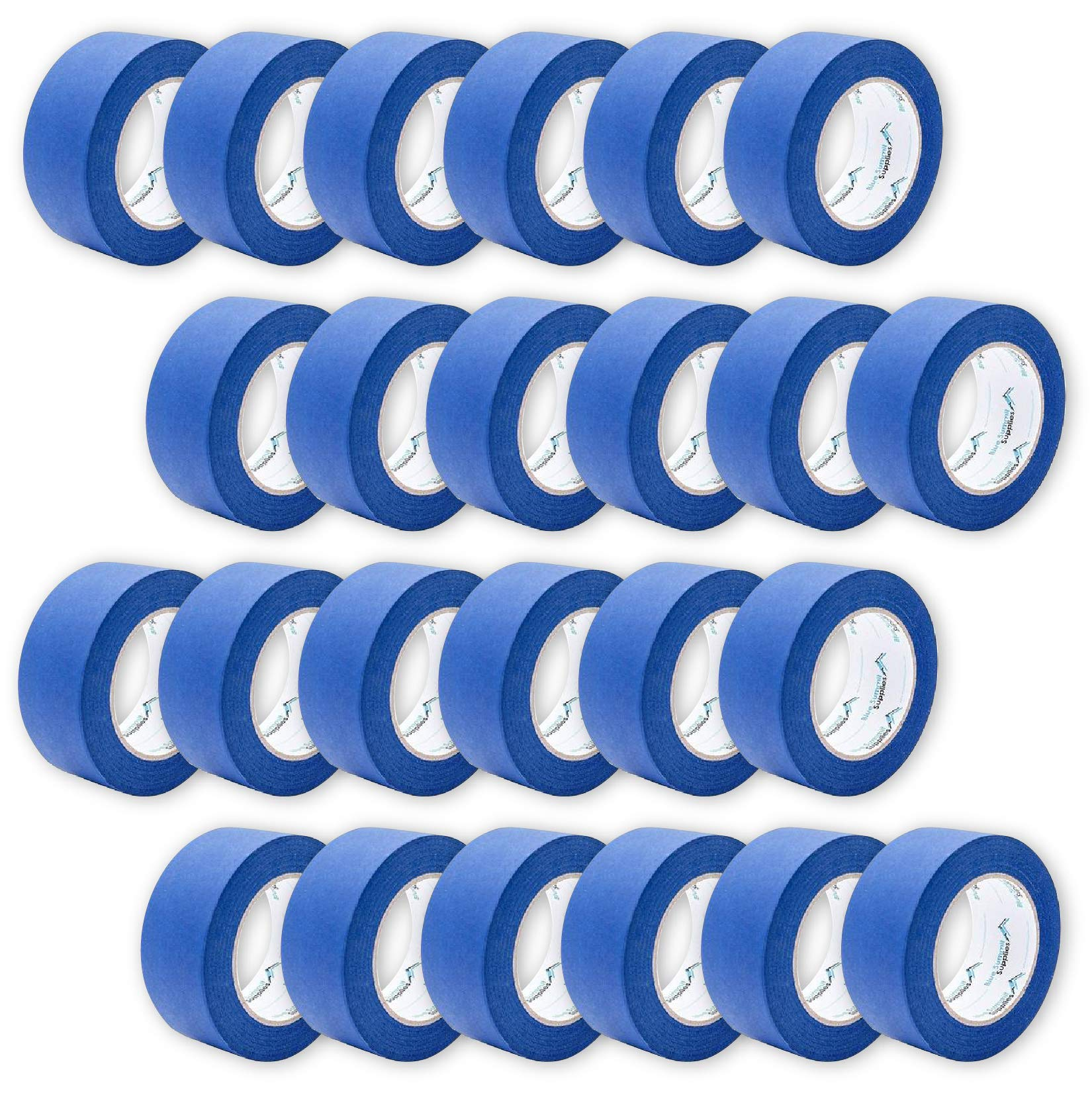 24 Pack 1.88 Inch Blue Painters Tape, Medium Adhesive That Sticks Well but Leaves No Residue Behind, 60 Yards Length, 24 Rolls, 1440 Total Yards by Blue Summit Supplies