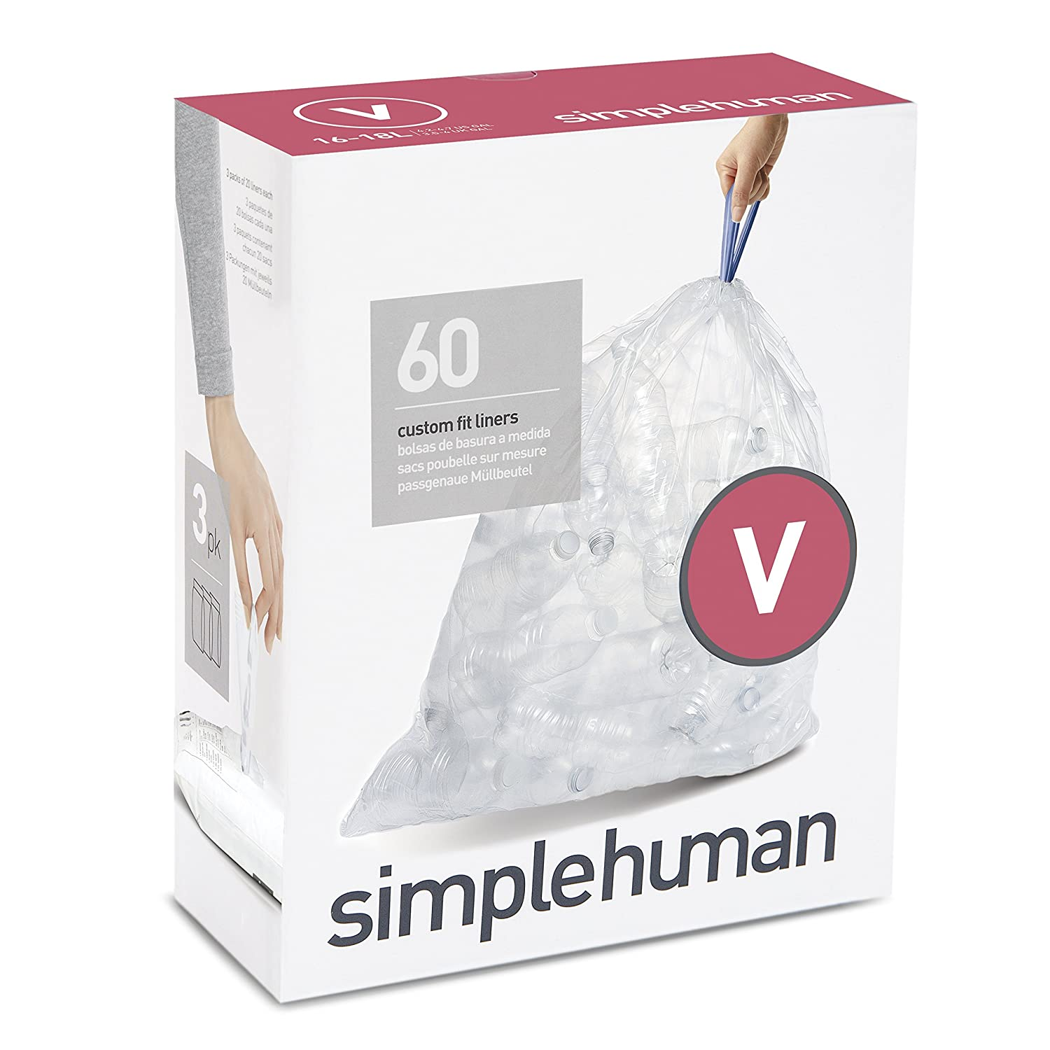 simplehuman Code V Custom Fit Recycling Trash Can Liner, 3 Refill Packs (60 Count), 16-18 L/4.2-4.8 Gal Bag, Clear CW0277
