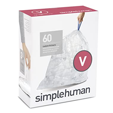 simplehuman Code V Custom Fit Clear Can Liner, 3 Refill Packs (60 Count), 16-18 L / 4.2-4.8 Gal Recycling Trash Bag