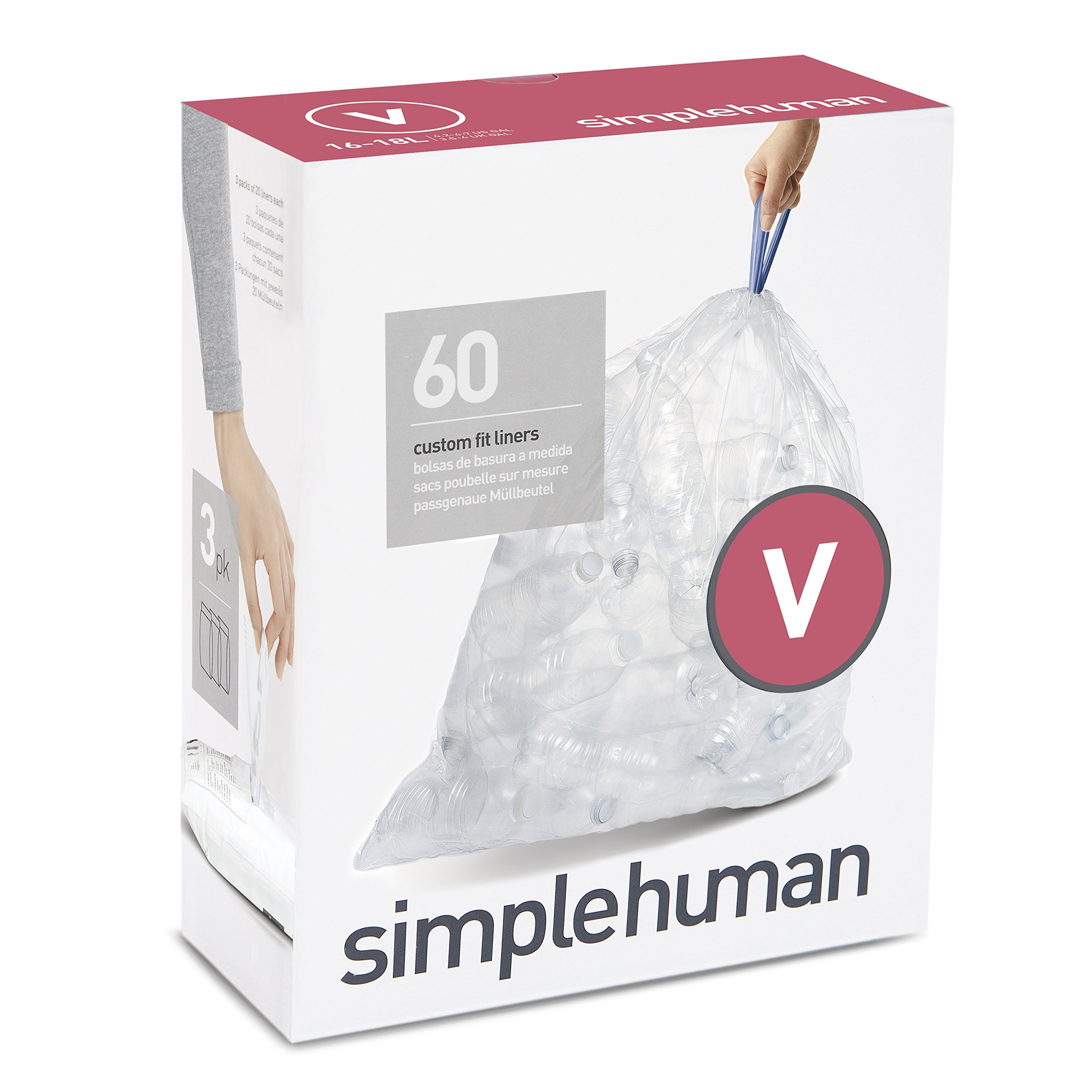 simplehuman Code V Custom Fit Recycling Trash Can Liner, 3 Refill Packs (60 Count), 16-18 L/4.2-4.8 Gal Bag, Clear