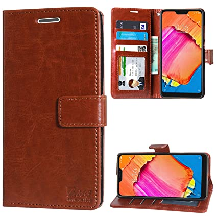 check out 176ed d1c18 DMG Leather Flip Cover for Redmi 6 Pro, Wallet Flip Cover Stand Case for  Xiaomi Redmi 6 Pro (ID Brown)