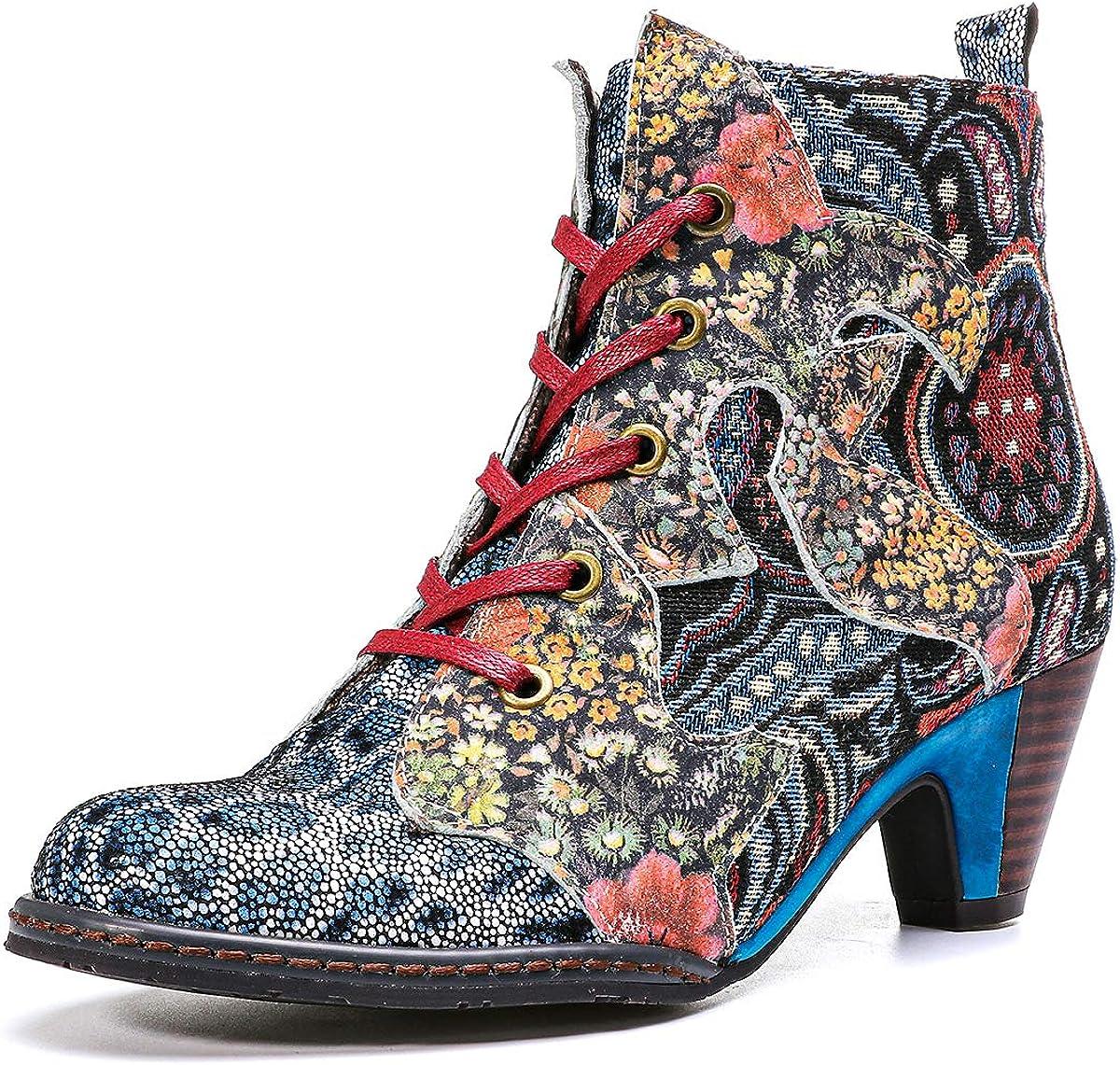 gracosy Women's Ankle Learther Booties, Block Heel Boots Bohemian Splicing Pattern Pointed Toe Low Heel Side Zipper Boots