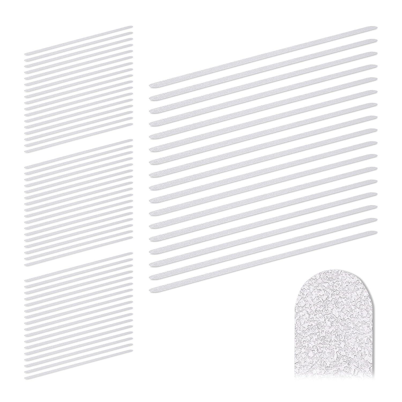 Anti-Rutsch-Sticker Kunststoff Treppe 17er Set Relaxdays Anti Rutsch Streifen f/ür Dusche transparent 60 cm lang