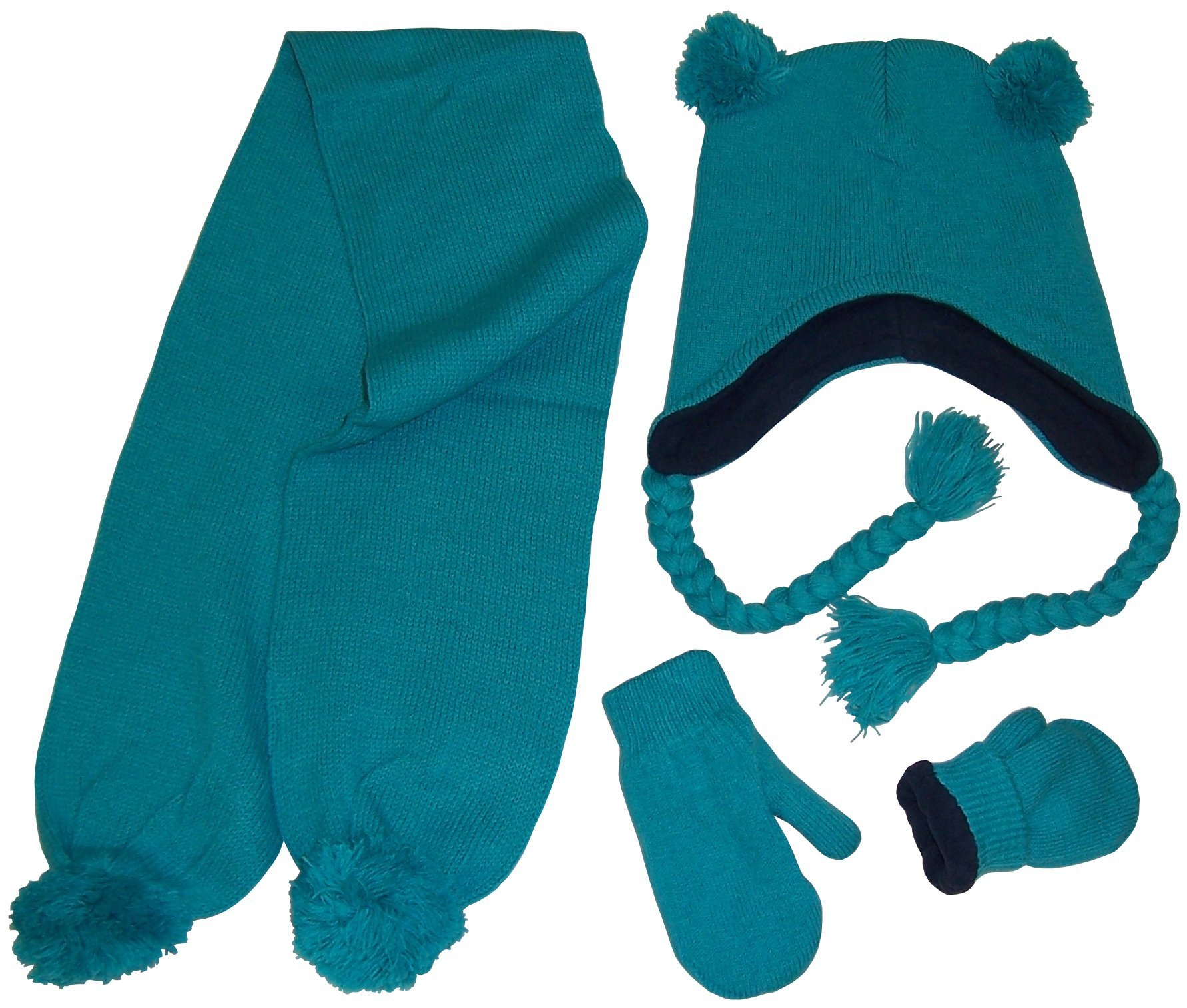 N'Ice Caps Little Girls Fleece Lined Knitted 3PC Set with Poms (4-7 Years, Neon Blue)