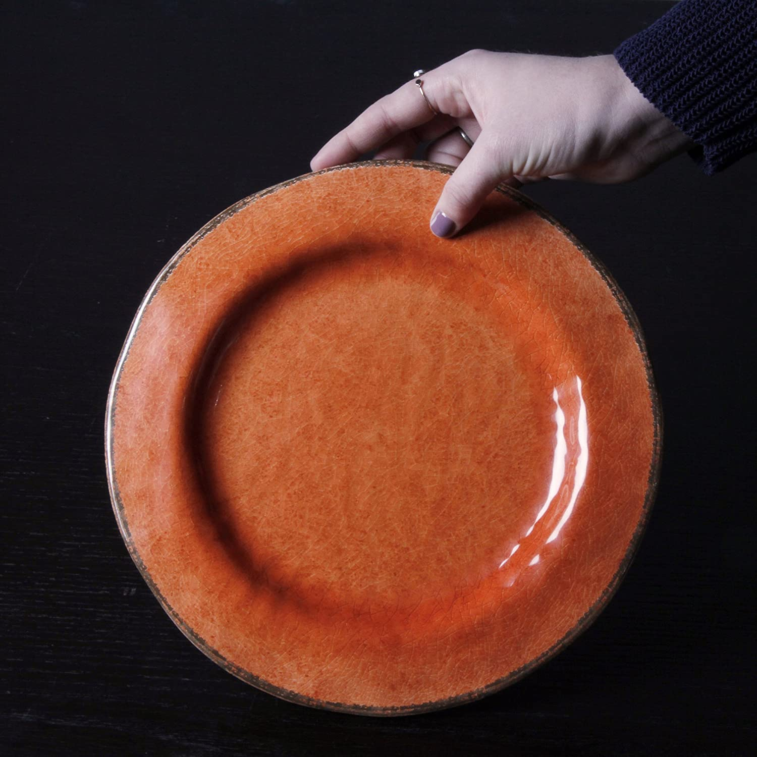 BPA-Free and Great for Outdoor or Casual Meals Set Of 4 tag Veranda Melamine Dinner Plate Coral Durable