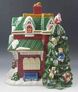 Amazon.com - 847 Spode China Christmas Tree Village Figurine Cookie Jar and Lid Train Station EX