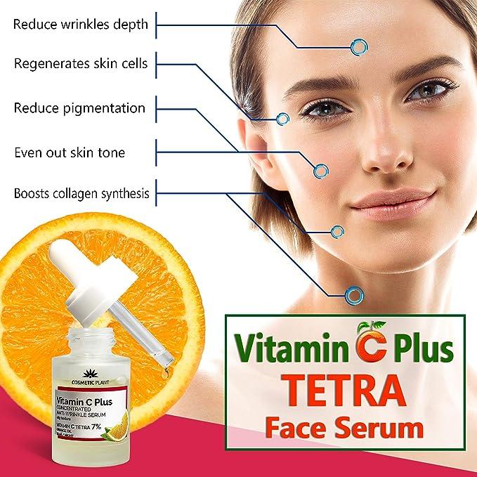 CONCENTRADO Vitamina C Plus Suero Facial con Palmitato de Retinilo, Vitamina E y Vitamina C Tetra 7%, Suero Facial Antiarrugas, Suero Antienvejecimiento, ...