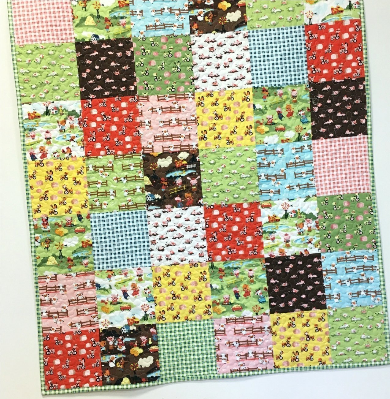 Farm Baby Quilt Country Nursery Crib Bedding Patchwork Handmade