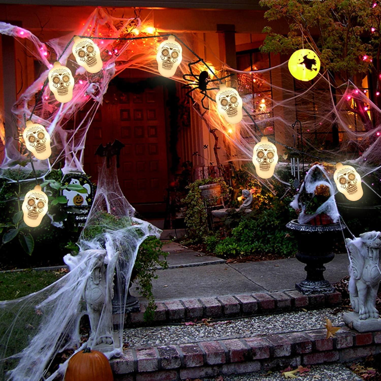 Achort 14.8 Pies 30 LEDs Halloween Luces de Cadena de Esqueleto Luces de Fiesta de Halloween Luces de Bater/ía para Decoraci/ón de Fiesta Interior Al Aire Libre Luces de Cadena de Calavera