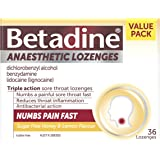 Betadine Anaesthetic Lozenges - Triple Action Sore Throat Lozenges - Numbs a Painful Sore Throat Fast, Honey & Lemon, 36…