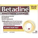 Betadine Anaesthetic Lozenges - Triple Action Sore Throat Lozenges - Numbs a Painful Sore Throat Fast, Honey & Lemon, 36…