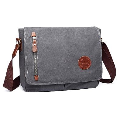 b828713f35 MeCooler Men Cross Body Canvas Messenger Bag Large Shoulder Bag Vintage  Bookbag Crossbody Bag for Laptop Retro Side Bag School Book Weekender   Amazon.co.uk  ...