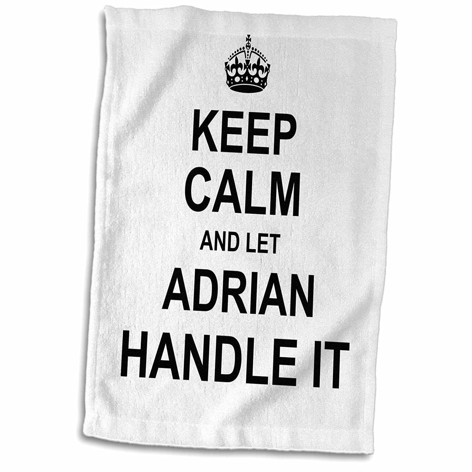 3D Rose Keep Calm and Let Adrian Handle It-Funny Personal Name Hand Towel 15' x 22'