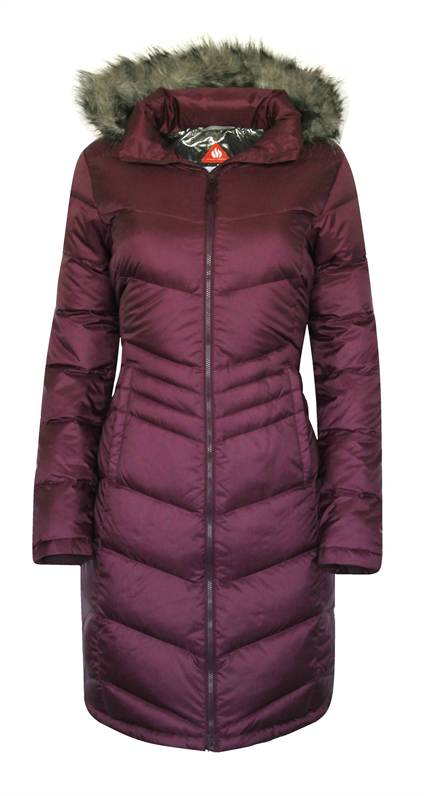 Columbia Women's Polar Freeze Long Down Jacket Omni Heat Warm Winter Coat (MEDIUM, Purple)