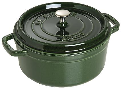 Staub 1102285 - Cocotte redonda, color verde basilisco, tamaño 22 cm