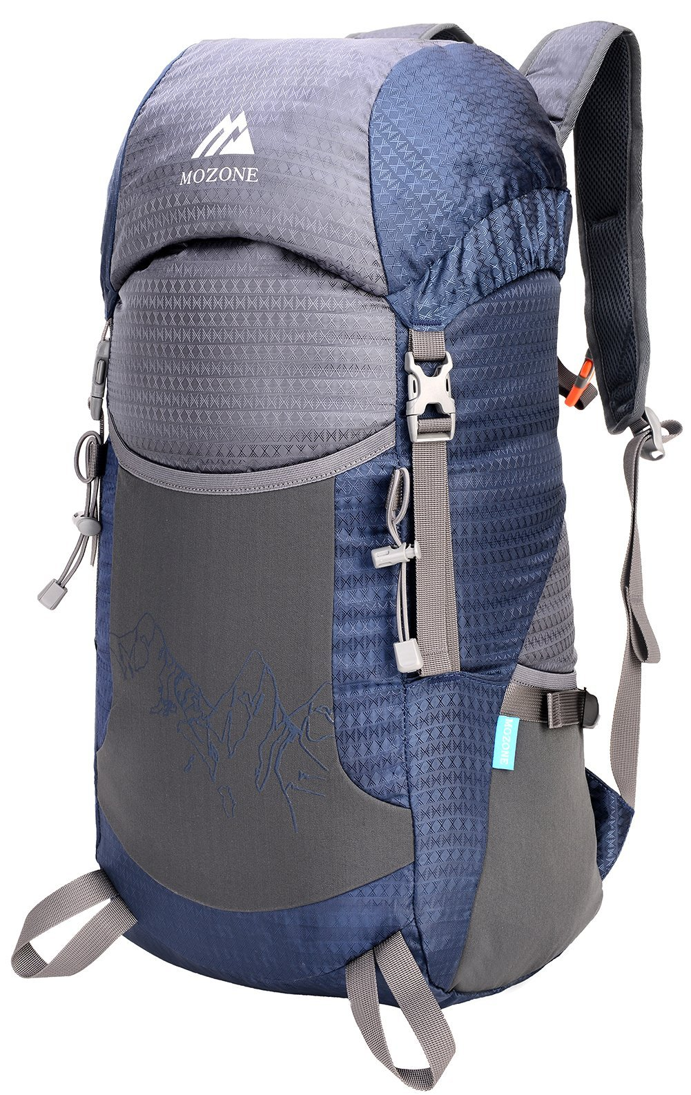 Mozone Large 45l Lightweight Travel Water Resistant Backpack/foldable & Packable Hiking Daypack (Navy Blue)