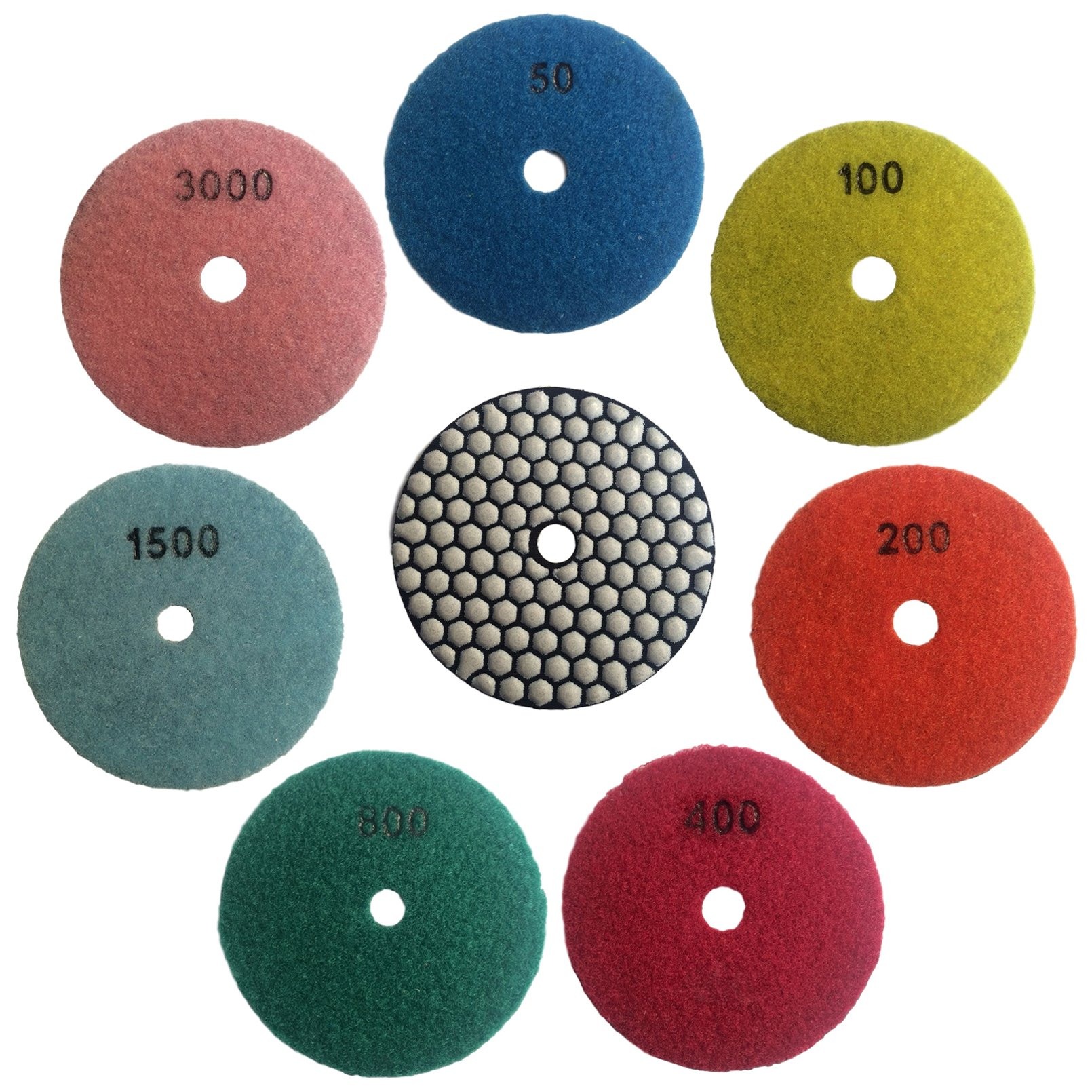 Konfor 3 Inch 7 Pcs Dry Diamond Polishing Pads for Grinding Granite Marble Stone by Konfor (Image #1)