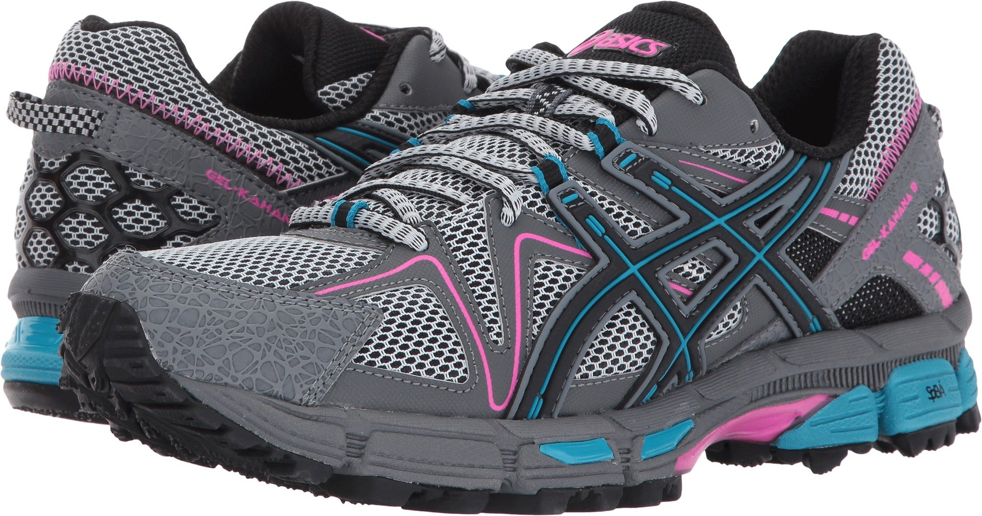 ASICS Womens Gel-Kahana 8 Running Shoe, Black/Island Blue/Pink Glow, 8 Medium US by ASICS