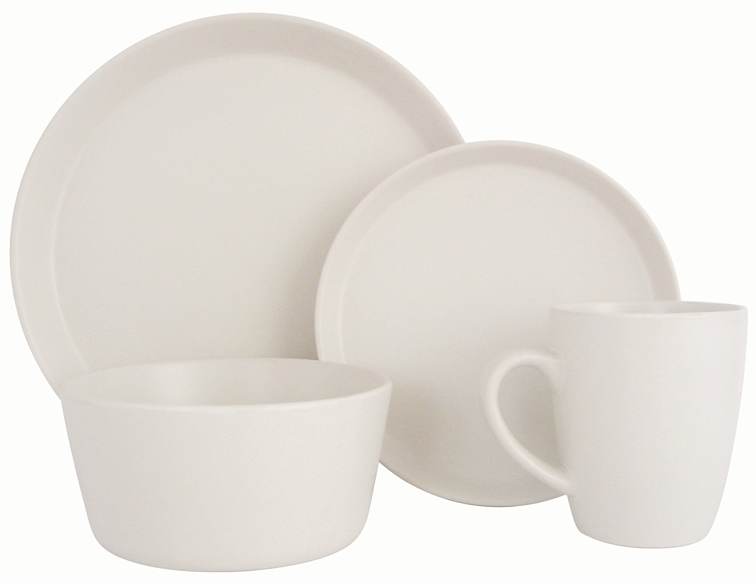 Melange Stoneware 16-Piece Dinnerware Set (Moderno White) | Service for 4| Microwave, Dishwasher & Oven Safe | Dinner Plate, Salad Plate, Soup Bowl & Mug (4 Each)
