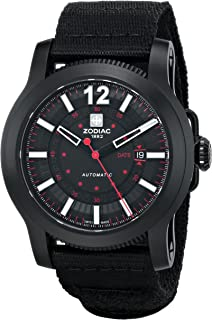Zodiac ZMX Mens ZO9100 Jet-O-Matic Stainless Steel Automatic Watch with Black Canvas