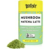 Teelixir Mushroom Matcha Latte Drink Mix (60 g) Certified Organic Ceremonial Grade Japanese Matcha Green Tea Powder with Lion's Mane Mushroom and Peppermint - Fast Energy, Better Mood and Focus - Vegan, Paleo, Gluten Free, Unsweetened - 20 servings