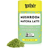 Teelixir Mushroom Matcha Latte Drink Mix (60 g) Certified Organic Ceremonial Grade Japanese Matcha Green Tea Powder with Lion's Mane Mushroom and Peppermint -Fast Energy, Better Mood and Focus - Vegan, Paleo, Gluten Free, Unsweetened - 20 servings