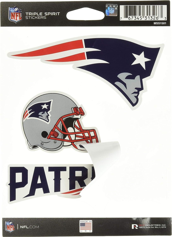 Nfl New England Patriots Die Cut 3 Piece Triple Spirit Sticker Sheet Sport Freizeit