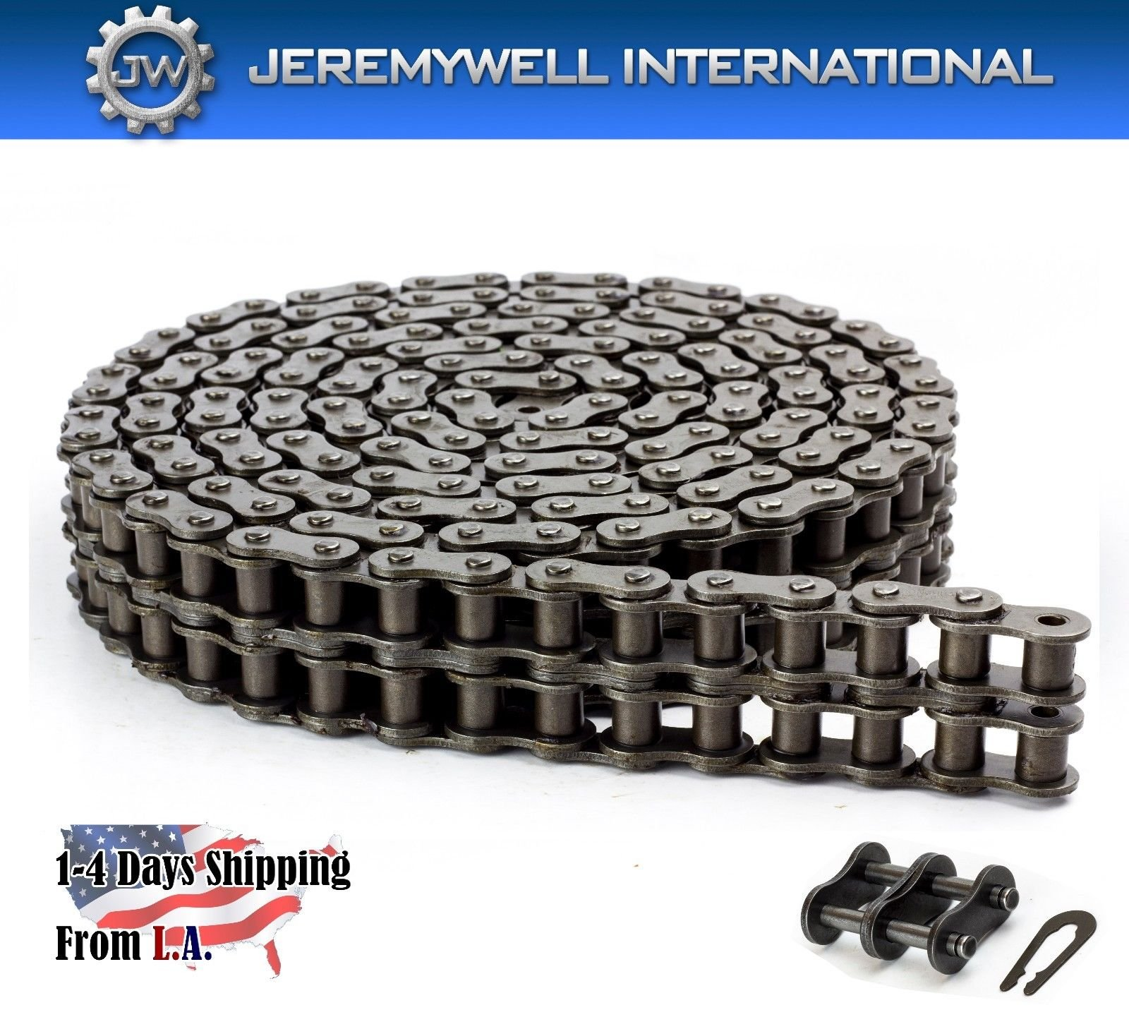 35-2 Double Strand Duplex Roller Chain 10 Feet with 1 Connecting Link by Jeremywell