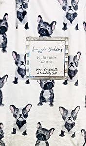 "French Bulldog Frenchie Velvet Ultra Soft Plush Throw Blanket from Snuggle Buddies | 50"" x 70"""