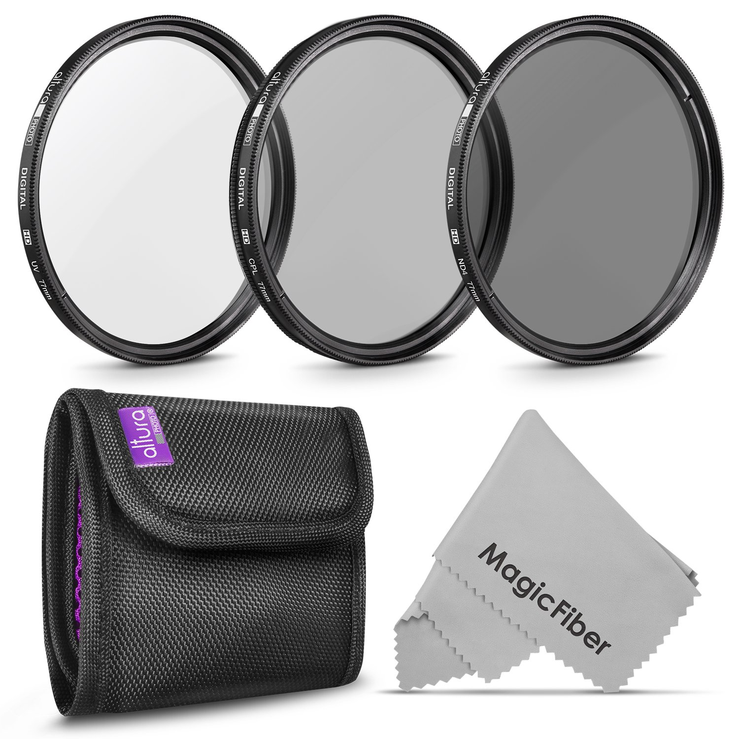 77MM Altura Photo Professional Photography Filter Kit (UV, CPL Polarizer, Neutral Density ND4) for Camera Lens with 77MM Filter Thread + Filter Pouch by Altura Photo