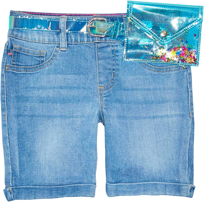 VIGOSS Girls Bermuda Shorts for Teen Girls - Cute Jean Shorts for Teen Girls with Glitter Belt