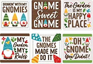 Big Dot of Happiness Garden Gnomes - Funny Forest Gnome Party Decorations - Drink Coasters - Set of 6