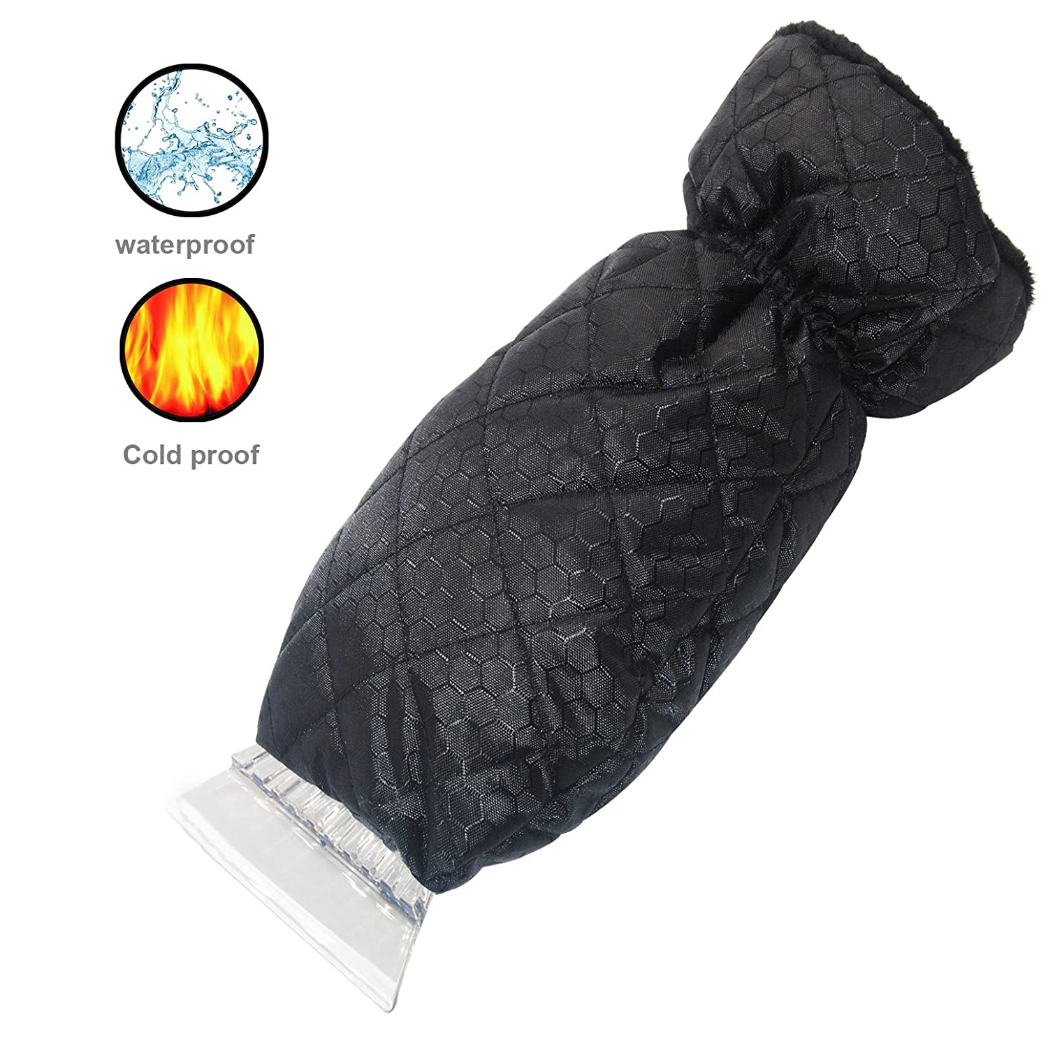 ZFZOO Ice Scraper Mitt Windshield Snow Scrapers with Waterproof Snow Remover Glove Lined of Qualited Fleece for Car (Black)