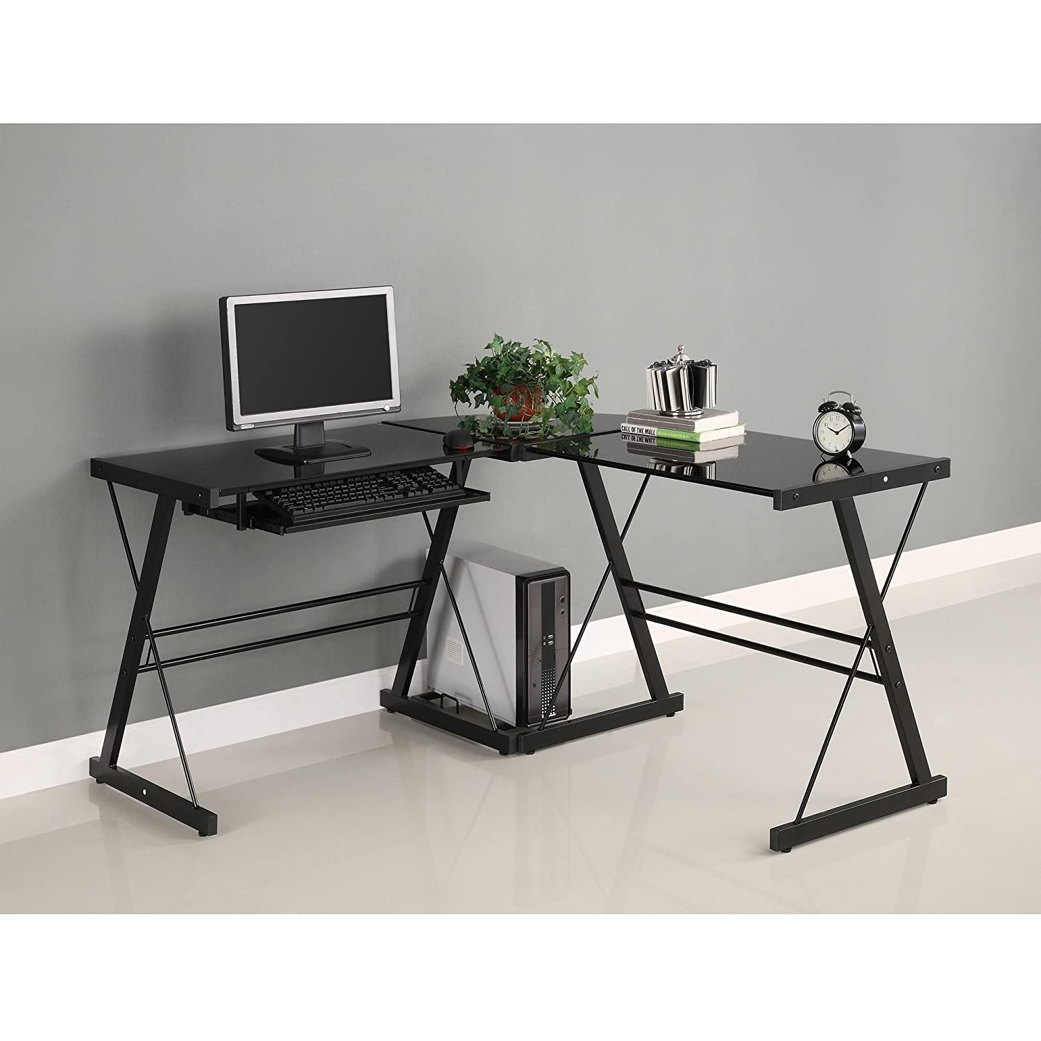 Amazon.com: Walker Edison Soreno 3-Piece Corner Desk, Black with Black  Glass: Kitchen & Dining