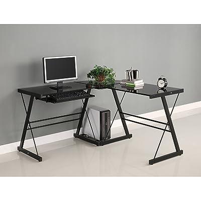 Walker Edison Soreno 3-Piece Corner Desk, Black with Black Glass
