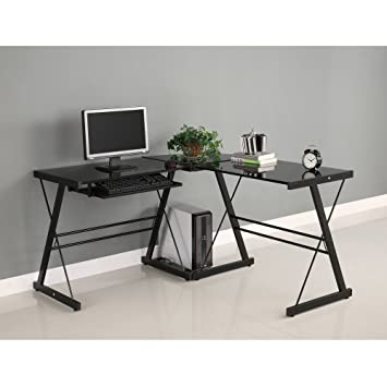 Walker Edison Soreno 3 Piece Corner Desk, Black With Black Glass Part 28