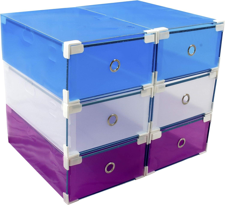 impilabili Naisicatar 7 colori diversi Scatole per scarpe in plastica trasparente pieghevoli smontabili e impermeabili