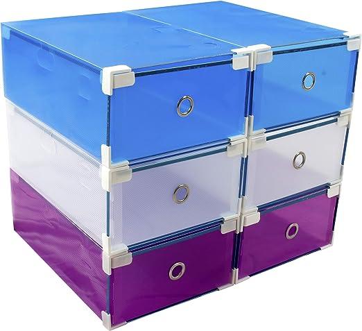 6 Cajas almacenaje apilables y reforzadas +10% PVC para Zapatos de ...