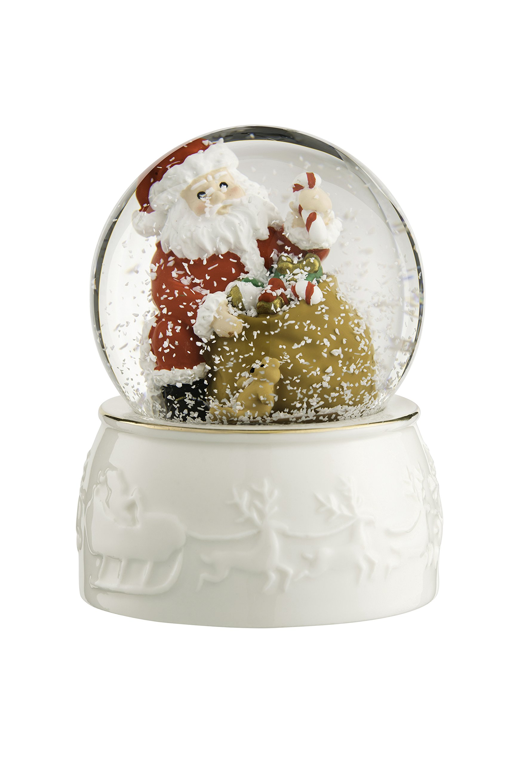 BELLEEK LIVING Santa Snowglobe, Gold/White, 9 x 6.5 x 9 cm