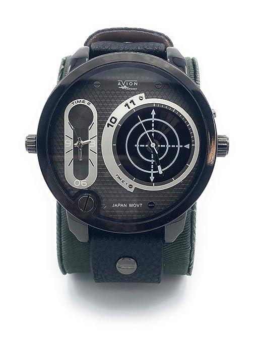 Avion Reloj Hombre de Pulsera de Cuarzo con Esfera con Gran Digital y Analógico aeronáutica Militar táctico Turquesa: Amazon.es: Relojes