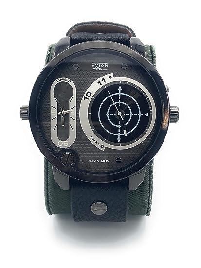 Avion Reloj Hombre de Pulsera de Cuarzo con Esfera con Gran Digital y Analógico aeronáutica Militar táctico Amarillo: Amazon.es: Relojes
