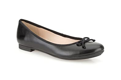 Clarks Womens Smart Clarks Carousel Ride Leather Shoes In Black Wide Fit  Size 8