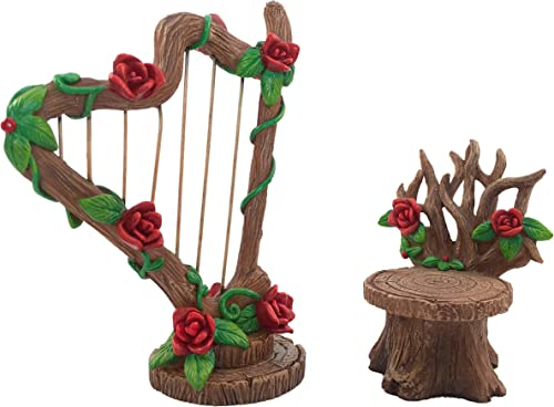 GlitZGlam Miniature Rose Harp and Chair Set for The Fairy Garden – Miniature Garden Accessory for The Fairy Figurines