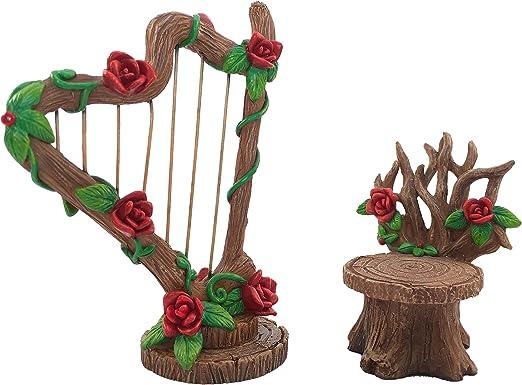 GlitZGlam Set de Harpa con Rosas en Miniatura y Silla a Juego para Jardín de Hadas – Accesorio de Jardín en Miniatura para Estatuillas de Hadas: Amazon.es: Jardín